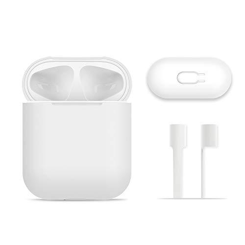 AirPods Hülle Schutz, FRTMA Silikon Skin Hülle mit Sport Strap für Apple AirPods, Elfenbein Weiß
