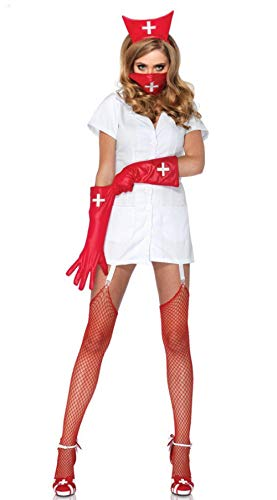 Women's Erotic Dresses Women's Erotic Lingerie Sets Erotic French Nurse Cosplay Costume Sexy Lingerie Halloween 4 Pieces Set Black Cute Cosplay Outfit Fancy Dress@Not_Include_Stocking_XL
