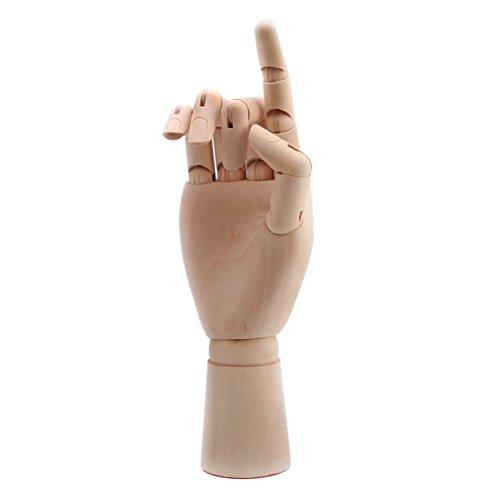 Larcele Hölzerne Menschliche Rechte Hand Modell Holzhand Zeichnungsmodell (26cm/10inch) MEHRWEG
