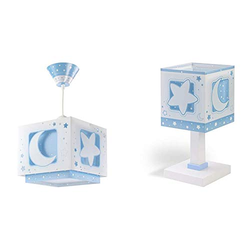 Dalber Lámpara Colgante Moon Light Azul, 60 W + Lámpara sobremesa Moon Light Azul, 40 W