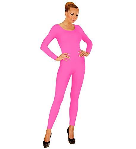 shoperama Damen Bodysuit Langarm Ballett Flamingo 80er Jahre Disco Tänzerin Kostüm-Zubehör Karneval Fasching Overall Catsuit Jumpsuit, Farbe:Pink, Größe:S/M