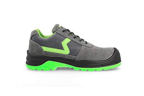 Zapato Seguridad Carbono Plus - Marca PAREDES - Color Gris y Verde - Talla 44