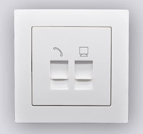 LINA - Enchufe de red LAN y toma de teléfono RJ45 y RJ11, montaje empotrado, color blanco