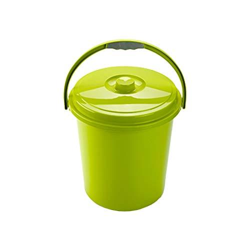 Cubo Basura Eco Redondo con Tapa y Asa 21 Litro 37 x 34 x 40 cm Disponible Rojo Azul Verde elegir color que te más gusta (Verde)