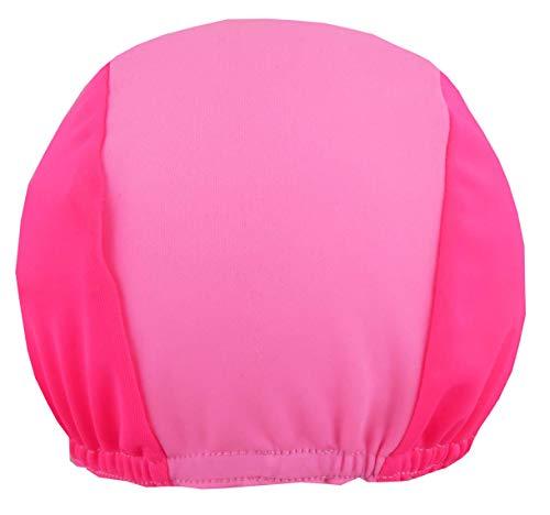 DRUCKEICH Zweifarbige Badekappe für Kinder und Erwachsene mit Ihrem Wunschtext oder Name/Fb. pink-rosa/Gr. 2 (ab 7 ahre)
