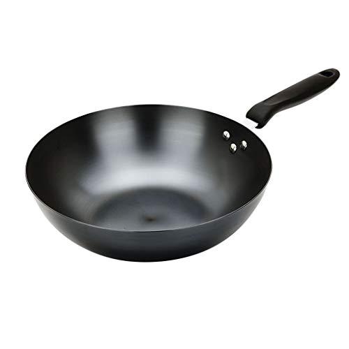 HYXQYPDG Gourmet Anti-aanbakpan |Fijne IJzeren Koekenpan| Multifunctionele Wok|met Bakeliet Handvat|Geschikt voor Gaskachels, Open Vlammen|32cm A+