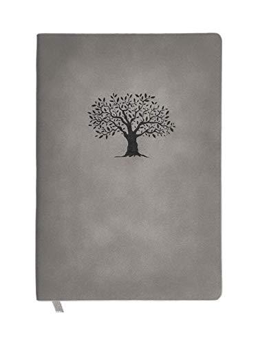 N&K A5 Notizbuch Bullet Journal dotted in Wildlederoptik Cover 160 Seiten festes Papier Notebook Premium Design und TOP Qualität Planer Organizer Terminplaner Taschenbuch Hausaufgabenheft - Grau
