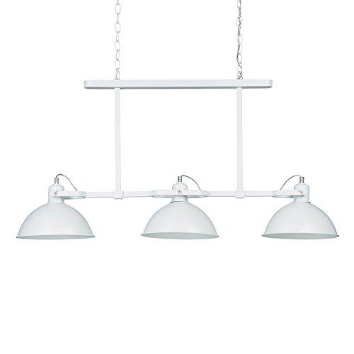 Relaxdays Suspension lampe à triple suspensions 3 ampoules abat-jour en métal inclinables H x l x P: 94 x 94 x 23 cm style industriel, blanc