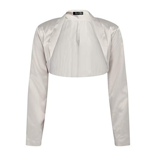 Bolerose Formal Long Sleeve Satin Bolero Shrug (Silver, US 8)