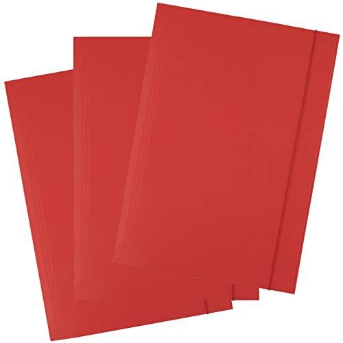 D.RECT, cartella portadocumenti in cartone, con elastico, 300 g, 25 pezzi Colore: rosso