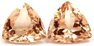 GemsNY 12.60 cttw. Natural Morganite Trillion AAAA Quality Challenge the lowest price of Japan Superlatite Match