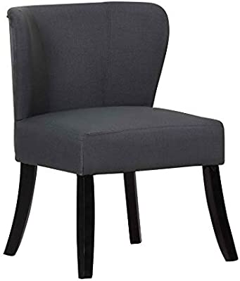 """Blackjack Furniture A92-DARK_Gray-CH Kenneth Fabric Upholstered Armless Living Room Accent Chair, 29"""""""