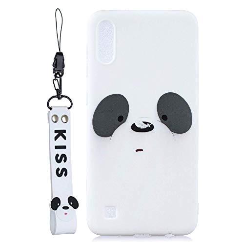 HongYong für Samsung Galaxy A10 Hülle + Handy-Lanyards, Ultra Slim Robustes und Flexibles 3D Cartoon Panda Weiches TPU, Süß 3D Panda Handy-Lanyards für Samsung Galaxy A10.