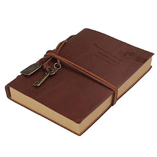 GWGW Clásico retro estilo PU cuerda Chavnotebook cubierta diario de viaje y cargadores en blanco escribe (café)