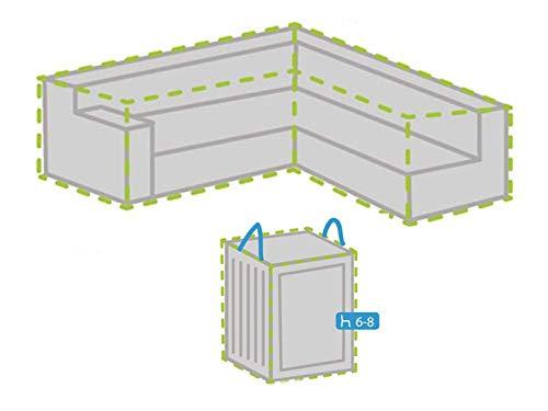 Housse de protection pour salon de jardin en forme de L 250 x 250 cm + housse pour 6-8 coussins