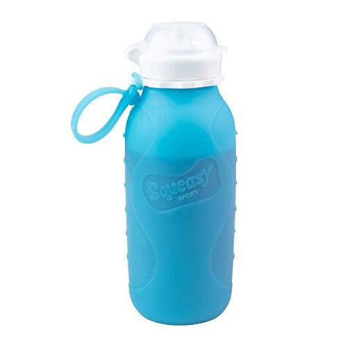 Squeasy Sport Trinkflasche, 440ml (Blau) - Faltbare Wasserflasche | Smoothie To Go Flasche, Quetschflasche | Auslaufsicher, BPA-frei und leicht