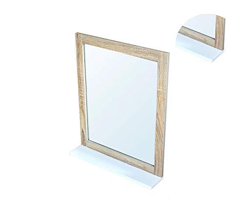 BM 4006 Specchio da Bagno con Mensola, MDF, W48*D10*H60cm, Bianco/Legno Grano