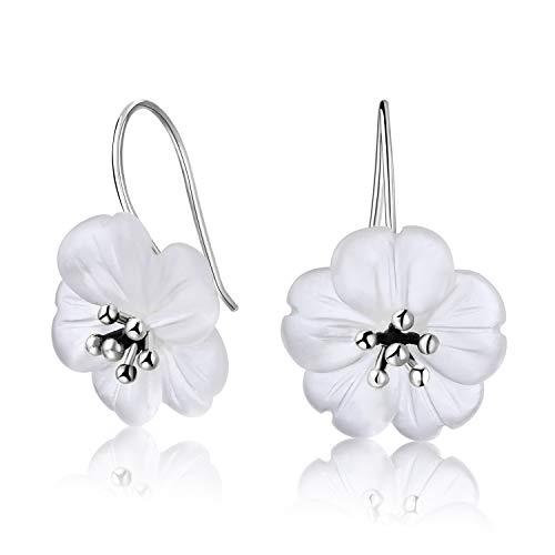 Springlight S925 Pendientes colgantes de plata esterlina Flor bajo la lluvia Pendientes colgantes de cristal para mujeres y niñas, joyería única hecha a mano.(Antique Silver)