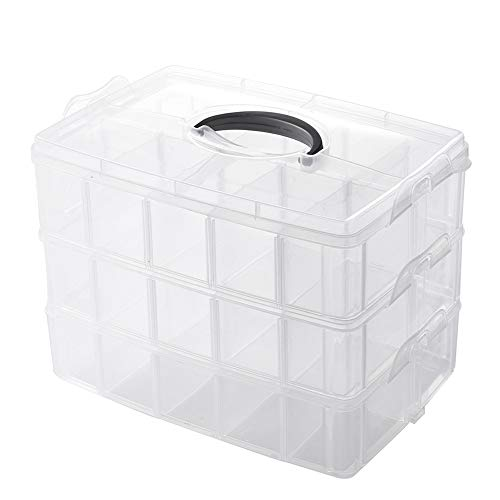 Funall 3-Tier Stackable Storage Container with 30 Compartments(Adjustable),Plastic Organizer Box for Organizing Arts and Crafts,Toy,Lego Pieces,Beads,Washi Tapes,Jewelry,Hair,Sewing Embroidery