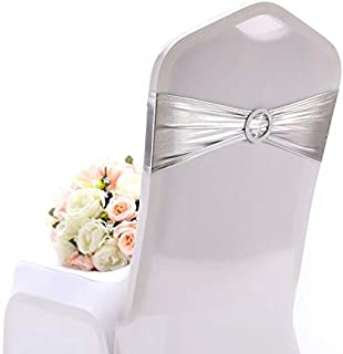 Yetomey 50PCS Chair Sashes Spandex Bow Chair Bands with Buckle Slider Sashes for Wedding Banquet Party Event Decoration (Metallic Silver)