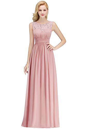 Damen A-Linie Spitze Hochzeitskleid Standesamt Chiffon Festkleid lang Rosa 36