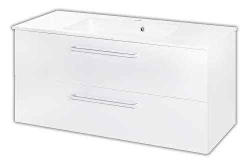 W.Schildmeyer Badmöbel Waschtisch Waschplatz Siena 100 Hochglanz Weiß