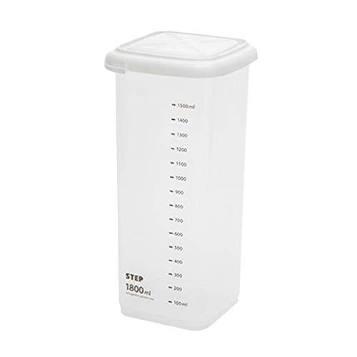 CWYP-MS 5 Capacidad Diferente Capacidad de plástico Caja de Almacenamiento de Cocina Caja de Almacenamiento Transparente Alimento Recipiente Mantenga Fresco Nuevo contenedor Claro (Size : 1800ml)