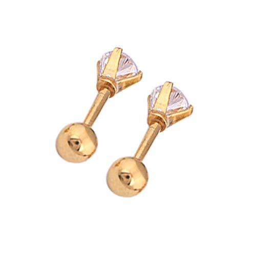 Mingtongli Hombres Mujeres aretes de circonio Pin del oído del perno prisionero de acero joyería brillante del oído para fechar a la fiesta, de plata, de 4 mm