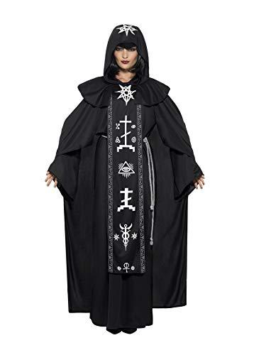 SMIFFYS Costume Rituali magia nera, Nero, tunica con cappuccio e cintura