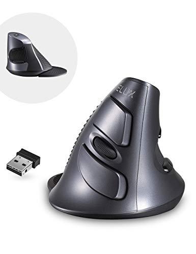 DeLux Ratón vertical, inalámbrico, ergonómico, 3 DPI ajustables (800-1200-1600 DPI), 6 botones, reposamuñecas extraíble, ratón óptico para ordenador portátil