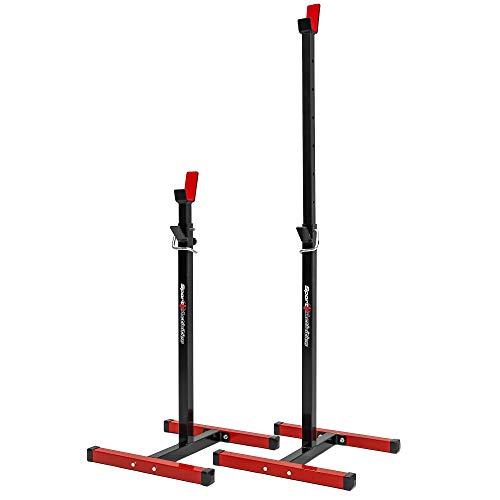 Generic Soporte para Sentadillas con el Peso máximo de 250 kg, Soporte para Barra Pesas con Regulación de Altura 90-153 cm, Rack Musculación Elaborado en Europa, Rack Musculación (Rojo)