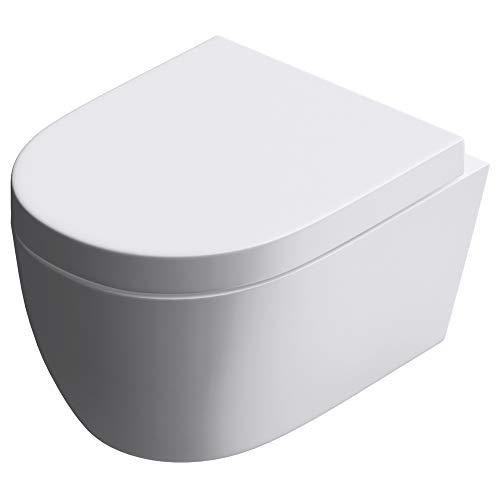 Mai & Mai WC Suspendu sans Bride en Céramique Blanc Toilette Mural Complet Abattant avec Frein de Chute A106