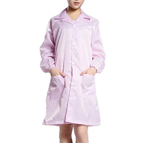 Artibetter Bata de Laboratorio Médico Bata de Protección Médica Antiestática Bata de Aislamiento a Prueba de Polvo Traje de Trabajo Antisaliva sin Zapatos Sombrero para Hospital Tamaño 3XL (Rosa)