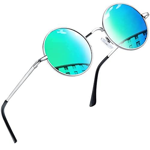 Joopin Redondas Gafas de sol Polarizadas Retro Vintage John Lennon Círculo Metálico Hippie Steampunk para Hombres y Mujeres UV400 (Azul verde)