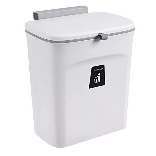 Cubo de Basura de Cocina para Encimera o Debajo del Fregadero, Cubo de Basura Peque?O Colgante con Tapa, Cubo de Basura Interior Montable (C)