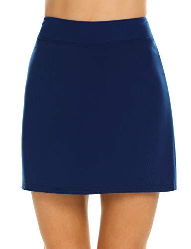 Ekouaer Skirts with Underneath Women's Everyday Skort Tight Comfy Sportswear Plus Size(Navy Blue/XL)