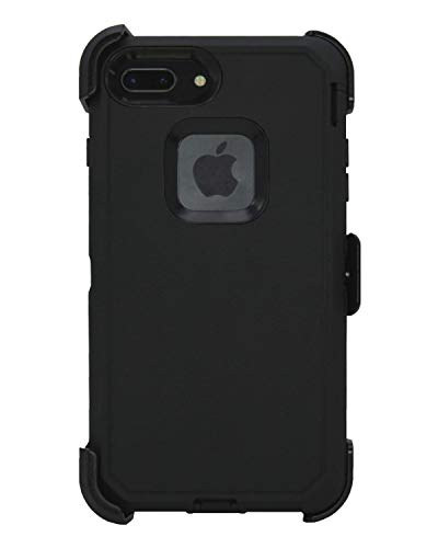 Hand-e Muscle Case for Apple iPhone 8 Plus / iPhone 7 Plus, Triple Layer Protection (Defender), Drop Proof, Hands Free Kickstand & Belt Clip – Black/Black