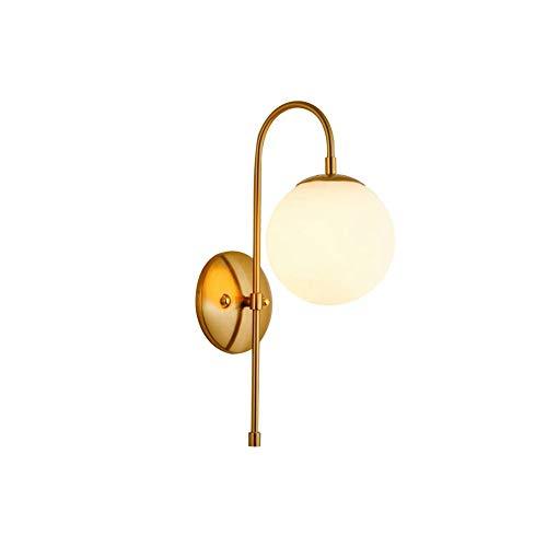 DSWHM Lámparas de Pared y Apliques, Bola Pared Apliques de la Pared de Cristal posmoderna de luz 1-luz de Oro de la Burbuja Hierro Forjado Apliques de Pared