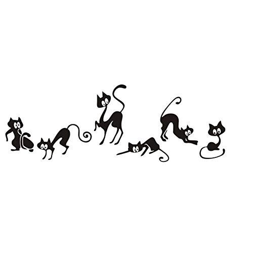 KDSMFA Creative Six Cat Animal Family Room Window Wall Mural Decorative Decal Removable 3D Wall Home Decor Baby Nursery DIY Art Mural