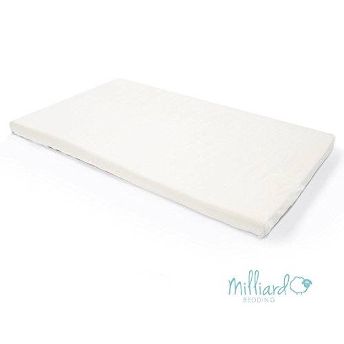 Milliard 2-Inch Ventilated Memory Foam Crib/Toddler Bed Mattress Topper with Removable Waterproof 65-Percent Cotton Non-Slip Cover - 52