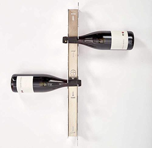 SCHMIDINNOVATION, Weinregal, für die Wand, Aluminium, Metall, Flaschenregal, Weinhalterung, Sektregal, plastikfrei, 61.3cm x 4.6cm x 7.8cm, Weinlagerung für bis zu 10 Flaschen