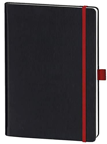 Leykam Denkzettel Notizbuch Softtouch Rotes Elastikband Stifthalterung Pokettasche Kariert A5