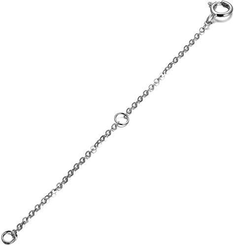 SISGEM Necklace Extender Chain, 9ct White Gold Flexible Necklace Chain Extender with 1/2 inch Extension for Necklace Bracelet Anklet Choker