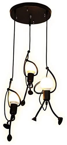 Liunce Araña de Luces 3-nórdica pequeño Hombre luz Pendiente Villa Retro Creativo del café del Restaurante Lámpara Colgante Lámpara de Techo Ropa Escaparate Arte postmoderno Hierro Forjado