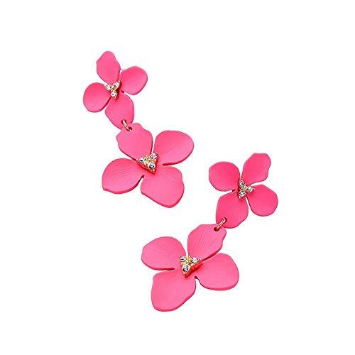 Individuelle Zarte Ohrringe, 925Er Silber Needle Pink Girl Literarische Fächerblume Ohrstecker Ohrringe, Thumby