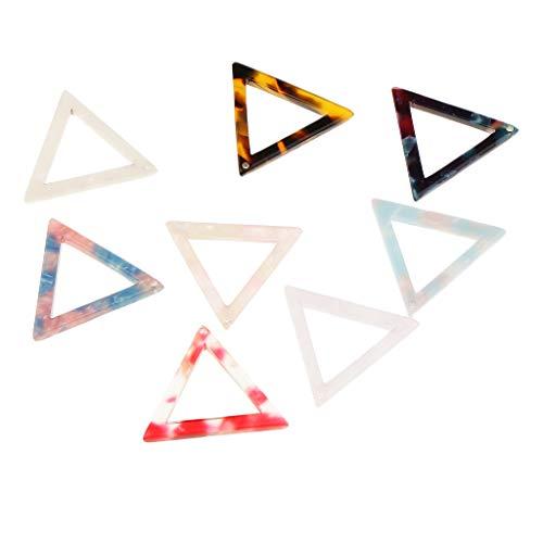 Milageto Pendientes Fai-da-Te con colgante triangular acrílico de acetato cable de 8 piezas surtidas