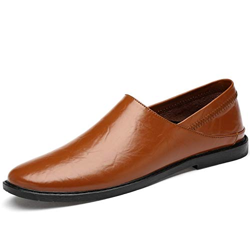 CAIFENG Mocasines de conducción de Ocio for Hombres Toe Round Toe Oxfords Casual Plano Penny Zapatos Slight-On Soft Genuine Cuero Lightweight Restant (Color : Brown, Size : 37 EU)