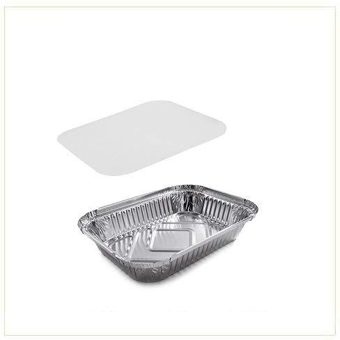 VIRSUS 100 Vaschette in Alluminio Dimensione 2 Porzioni Rettangolari Argentate contenitori per Alimenti USA e Getta, perfette per teglie in Alluminio per Takeaway + 100 coperchi