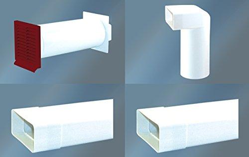 Abluftset 150 mm Mauerkasten rund mit Rechteckanschluss und Rückstauklappe 2x Flachkanal 1m sowie Umlenkstück von flach auf rund Abluft Küche Dunstabzug-Aussengitter:Ziegelrot