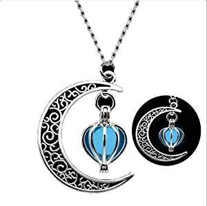 Glowing Crescent Moon collana, collana Glowing Orb, Glow in the Dark Necklace, Twilight